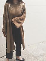 Для женщин На каждый день Длинный Кардиган Однотонный,Асимметричный вырез Длинный рукав Искусственный шёлк Осень Средняя Слабоэластичная
