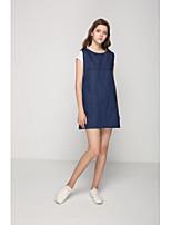 Damen Lose Etuikleid Kleid-Ausgehen Lässig/Alltäglich Einfach Street Schick Solide Gurt Maxi Ärmellos Baumwolle Frühling SommerMittlere