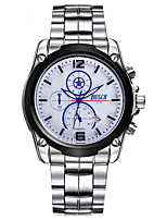 Men's Sport Watch Fashion Watch Chinese Quartz Calendar Stainless Steel Band Casual Silver