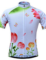 JESOCYCLING Camisa para Ciclismo Mulheres Manga Curta MotoSecagem Rápida Respirável Materiais Leves Bolso Traseiro Redutor de Suor