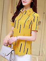 Для женщин На каждый день Лето Блуза Рубашечный воротник,Простое Полоски С короткими рукавами,Шёлк Хлопок,Плотная
