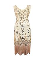 Latin Dance Dresses Women's Performance Sequined Sequin 1 Piece Sleeveless Natural Dress