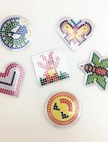 3PCS Template Clear Pegboard Colorful Loving Heart Hexagram Shape Pegboard DIY Jigsaw for 5mm Fuse Beads(Random Mixed Shape)