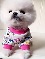 Cat Dog Pajamas Dog Clothes Cute Casual/Daily Animal Orange Fuchsia Red Blue Blushing Pink