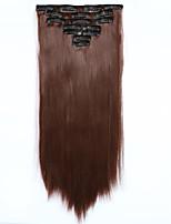 7pcs/Set 130g Dark Auburn Straight 50cm Hair Extension Clip In Synthetic Hair Extensions