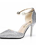 Для женщин Сандалии Удобная обувь Полиуретан Лето Для прогулок Для прогулок На низком каблуке Золотой Черный Серебряный Менее 2,5 см