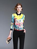 Camicia Da donna Per uscire Casual Romantico Primavera Estate,Monocolore Colletto Poliestere Manica lunga Medio spessore