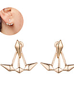 Smooth Alloy Geometry Rhombus Pattern Stud Earrings Jewelry Unique Design Alloy Square Silver Gold Jewelry For Women