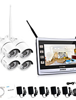 ANNKE® 4CH CCTV Wireless Camera Security System NVR 1080P Weatherproof Camera Remote ALert without HDD