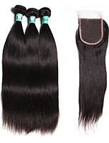 Natural Color Hair Weaves Brazilian Texture Straight 18 Months 4 Pieces hair weaves