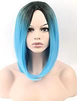 Fashion Sexy Women Straight Hair Short Wigs Black To Bule Color Cosplay Synthetic Wigs