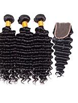 Tissages de cheveux humains Cheveux Brésiliens Bouclé 6 Mois 4 Pièces tissages de cheveux
