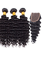 Top Grade 4Pcs/Lot Peruvian Virgin Hair Body Wave Hair Weft With 1Pcs Lace Closure Free Part Raw Human Hair Weaves