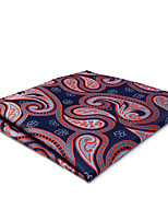 CH29 New Business Mens Classic Pocket Square Hanky Blue Orange Paisley 100% Silk Handmade