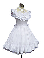 Une Pièce/Robes Doux Princesse Cosplay Vêtrements Lolita Couleur Pleine Sans manche Genou Robe Jupon Pour Coton