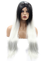 1B Ombre Gray Two Tone Color Hand Tied Lace Wigs Glueless Heat Resistant Hair Coaplay Party Synthetic Lace Front Wigs