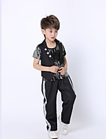 Jazz Outfits Kid's Performance Polyester Sequined 3 Pieces Long Sleeve Natural Top Vest Pants