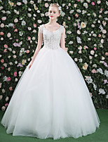 Princess Wedding Dress - Elegant & Luxurious See-Through Beautiful Back Floor-length V-neck Lace Tulle with Beading Lace Sequin