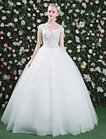 Da principessa Vestito da sposa - Elegante e di lusso Traforato Nerissimo Lungo A V Di pizzo Tulle con Perline Di pizzo Strass