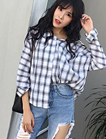 Women's Going out Holiday Vintage Street chic Spring Summer Shirt,Solid Plaid V Neck Long Sleeve Linen Thin