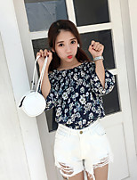 Women's Casual/Daily Simple Spring Summer Blouse,Floral Strap ½ Length Sleeve Linen Opaque