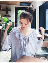 Для женщин Праздник На каждый день Весна Лето Блуза Круглый вырез,Простое Однотонный Длинный рукав,Хлопок,Тонкая