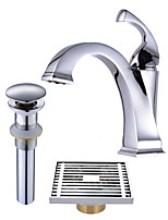 Contemporary Centerset Widespread Pre Rinse with  Ceramic Valve Single Handle One Hole for  Chrome , Bathroom Sink Faucet