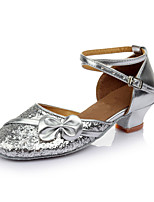 Customizable Women's Dance Shoes Leatherette Latin Flats Customized Heel Indoor Sliver