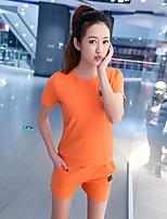 Damen einfarbig Einfach Aktiv Lässig/Alltäglich Sport Shirt Hose Anzüge,Rundhalsausschnitt Kurzarm