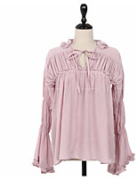 Women's Casual/Daily Simple Blouse,Solid V Neck Long Sleeve Cotton