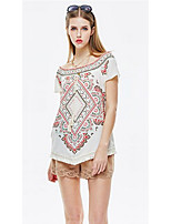 Women's Going out Casual/Daily Holiday Vintage Simple Boho Summer T-shirt,Floral Geometric Print Boat Neck Short Sleeve Polyester Spandex