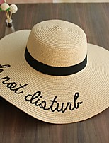 Для женщин Очаровательный На каждый день Соломенная шляпа Шляпа от солнца,Лето Полиэстер Соломка С принтом