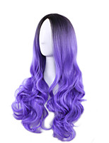 Black/Purple Two Tone Color Ombre Wig Body Wave Heat Resistant Synthetic Wig