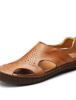 Men's Sandals Comfort Cowhide Leather Spring Fall Casual Outdoor Office & Career Comfort Polka Dot Flat Heel Brown Black Flat