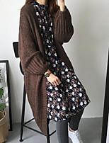 Mujer Largo Pullover Casual/Diario Simple,Un Color Escote Redondo Manga Larga Algodón Otoño Invierno Medio Grueso Microelástico