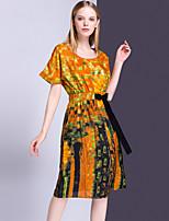 Для женщин На выход На каждый день Изысканный Оболочка Платье Цветочный принт,Круглый вырез До колена С короткими рукавами Полиэстер Лето