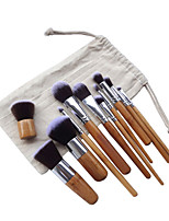 11pcs Bamboo Contour Brush Makeup Brush Set Blush Brush Eyeshadow Brush Brow Brush Eyeliner Brush Concealer Brush Powder Brush Foundation Brush