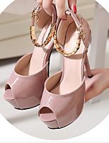 Черный Серый Розовый-Для женщин-Повседневный-ПолиуретанБосоножки-Обувь на каблуках