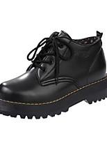 נשים נעלי אוקספורד נוחות PU אביב יומיומי שחור אדום שטוח