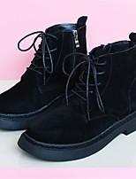 Черный-Для женщин-Повседневный-Замша-На низком каблуке-Удобная обувь-Ботинки