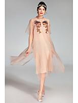 Для женщин На каждый день Очаровательный Свободный силуэт Платье Однотонный Вышивка,Круглый вырез Средней длины С короткими рукавами Шёлк