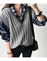 Damen Standard Strickjacke-Lässig/Alltäglich Einfach Solide Rundhalsausschnitt Ärmellos Baumwolle Frühling Mittel Mikro-elastisch