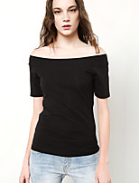 Women's Casual Cotton Slash Neck T Shirt Short Sleeve Pullovers