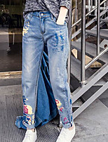 Women's Mid Rise Micro-elastic Jeans Pants,Slim Solid