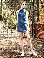 Для женщин На выход На каждый день Вечеринка/коктейль Облегающий силуэт Платье Однотонный,Вырез под горло Выше колена Без рукавовХлопок