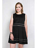 Women's Plus Size Casual/Daily Party Sexy Simple Cute A Line Loose Skater Dress,Color Block Round Neck Knee-length SleevelessCotton