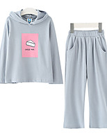 Girl Casual/Daily Sports Print Sets,Cotton Spring Fall Long Sleeve Clothing Set