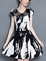 Women's Plus Size Going out Street chic Slim A Line Chiffon Dress Print Lace Patchwork Round Neck Above Knee Short Sleeve Polyester Summer