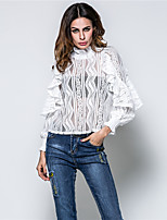 Women's Going out Casual/Daily Beach Cute Blouse,Jacquard Turtleneck Long Sleeve Rayon Thin