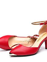 Черный Красный Розовый Телесный-Для женщин-Повседневный-Полиуретанклуб Обувь-Сандалии